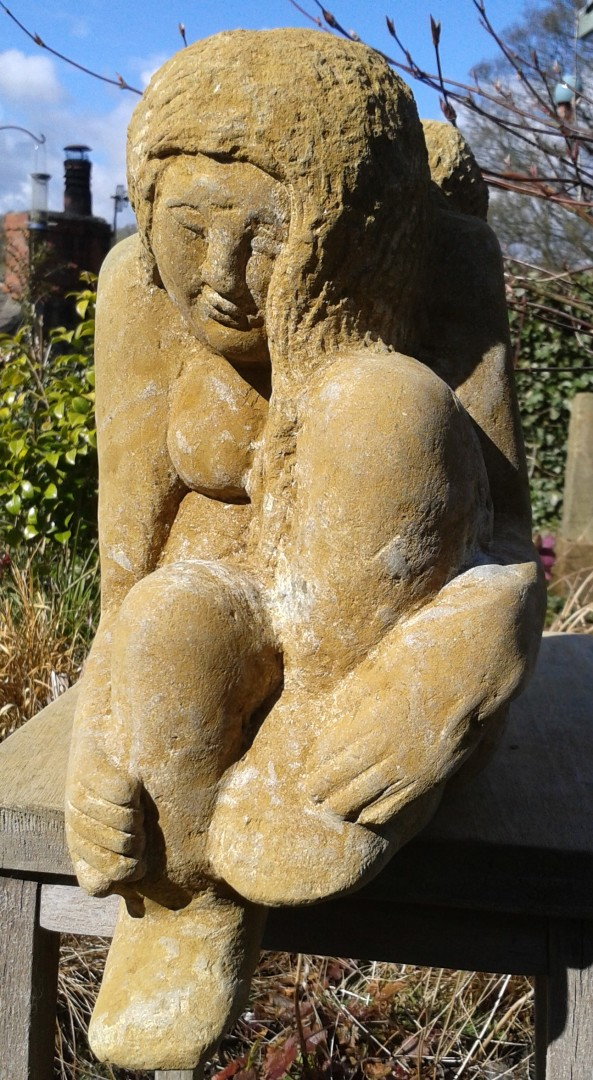 angel sculpture carved in hornton stone