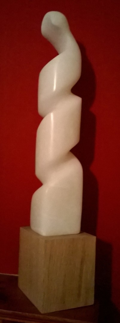 'Unfurling' sculpture carved in alabaster