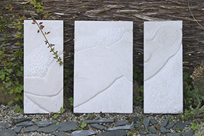 'tryptych' sculpture carved in hoptonwood stone