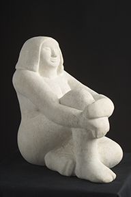 'seated woman' stone carving in ancaster limestone
